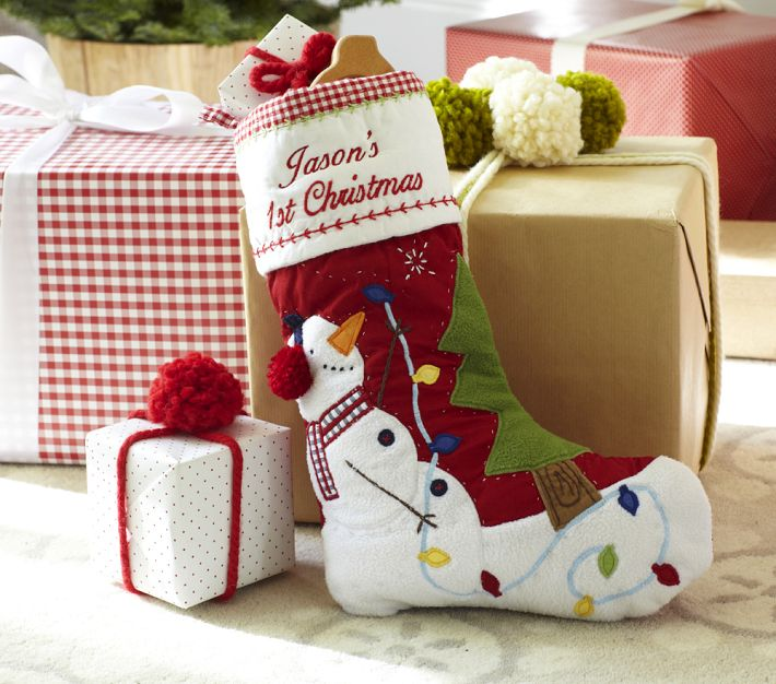 Baby's First Christmas Quilted Stockings at Pottery Barn Kids ...