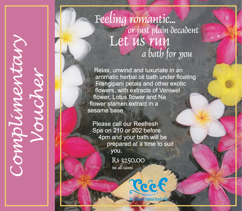 Complimentary Bath Voucher in May and June at Reef – Sri Lanka