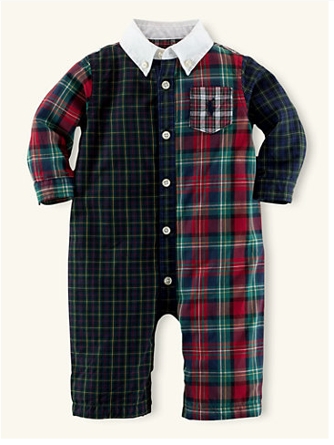 Patchwork Cotton Coverall - layette boy - newborn - 9m