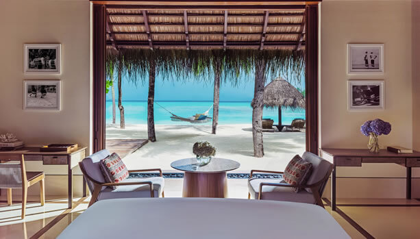 View from your bedroom in the Beach Villa at One&Only Reethi Rah Maldives